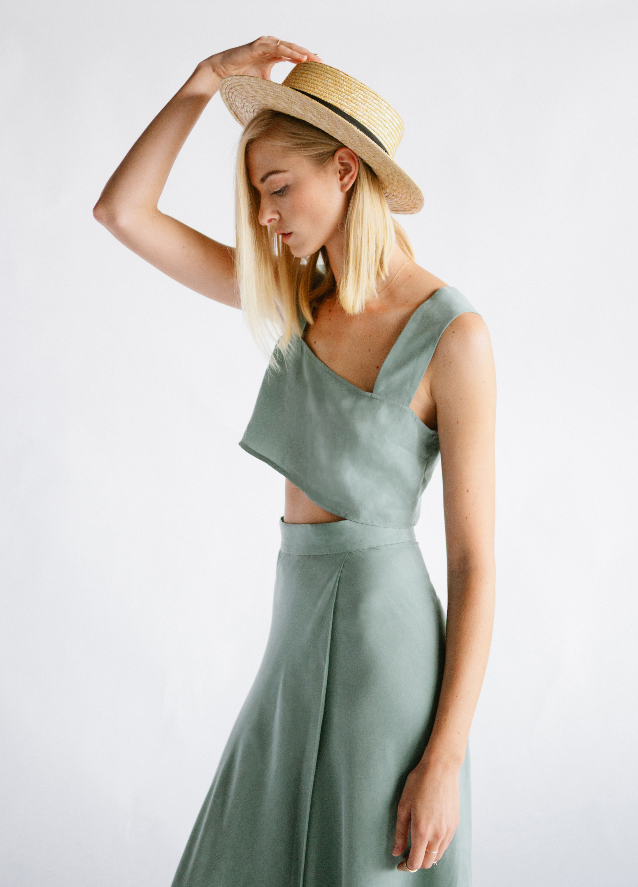 THE OLIVER TOP + JAMES SKIRT - SOFT GREEN