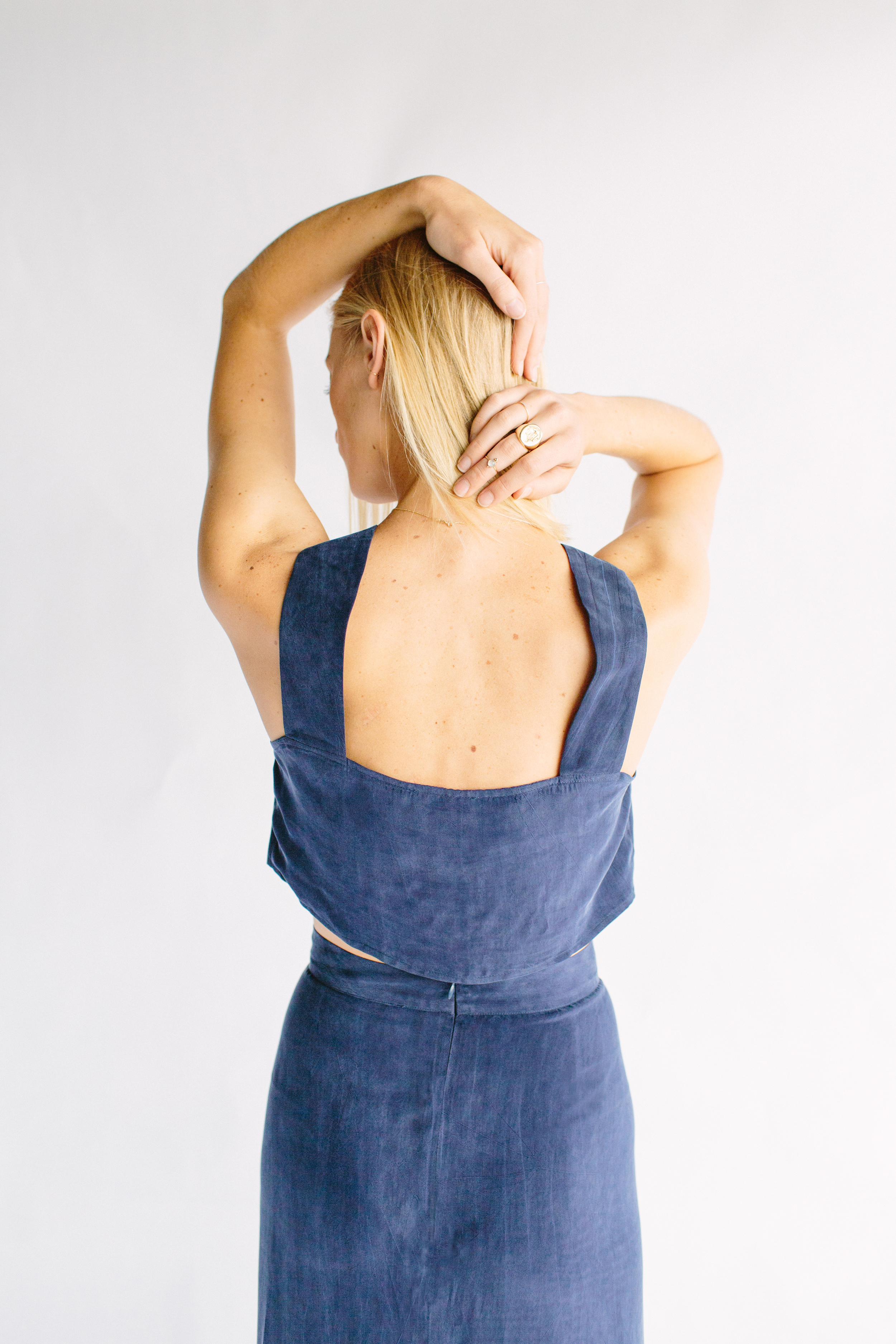 THE OLIVER TOP + JAMES SKIRT - DISTRESSED NAVY