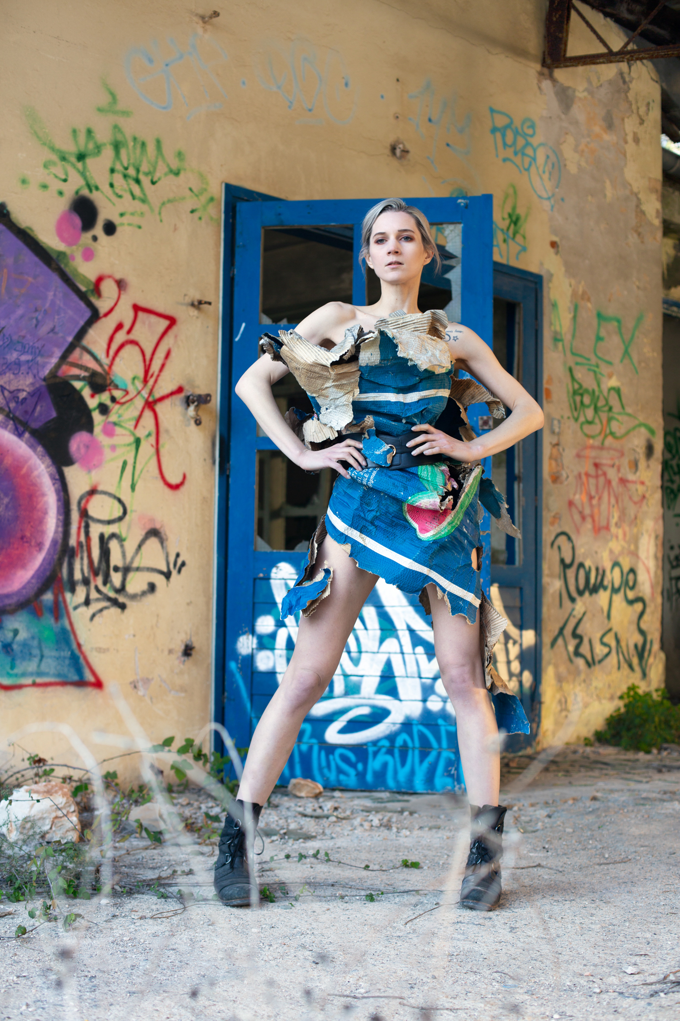 Roxx, shot by Redd, at Pula's abandoned naval base, wearing naturally-weathered cardboard packaging paper.