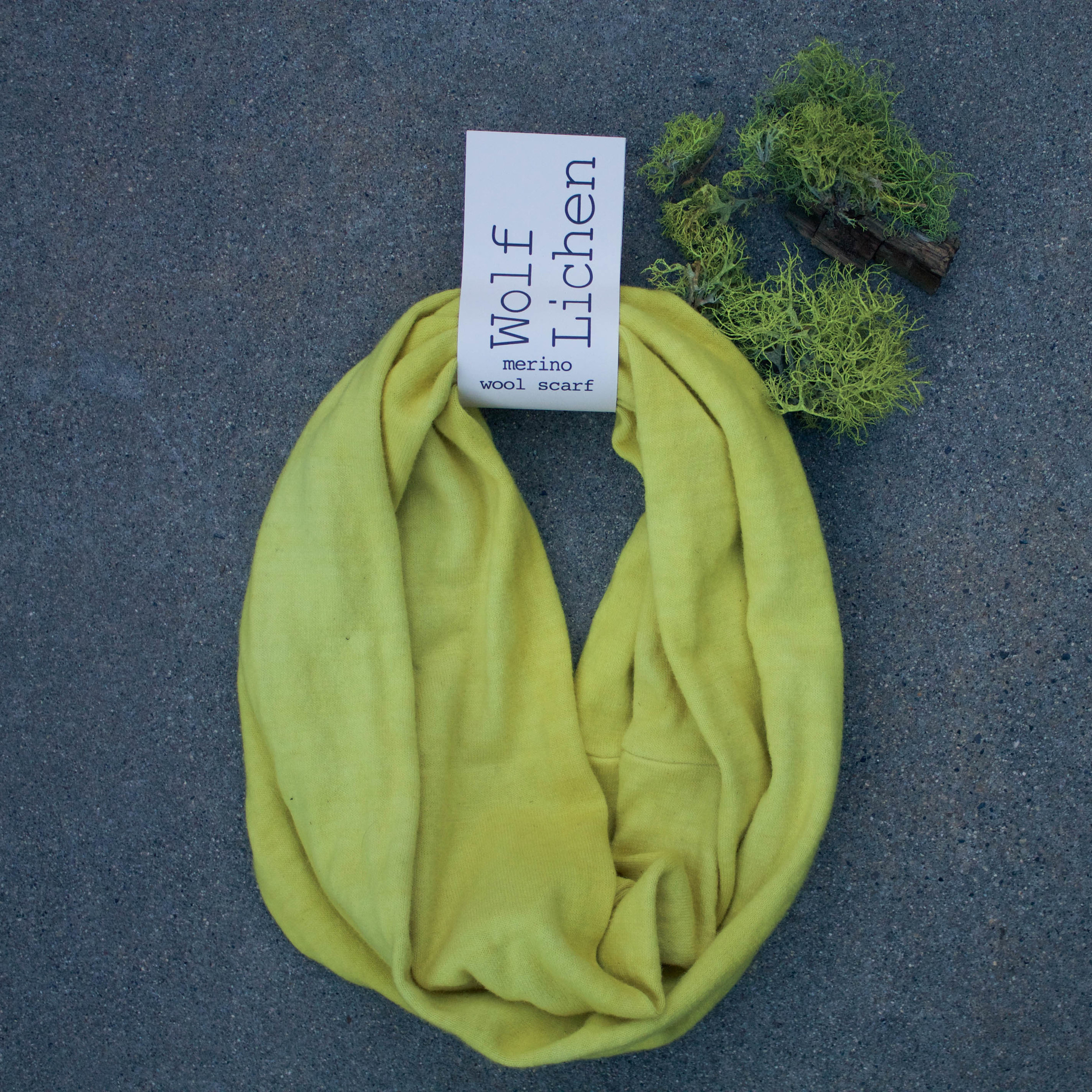 Naturally Dyed Wool Scarf // Wolf Lichen // $65