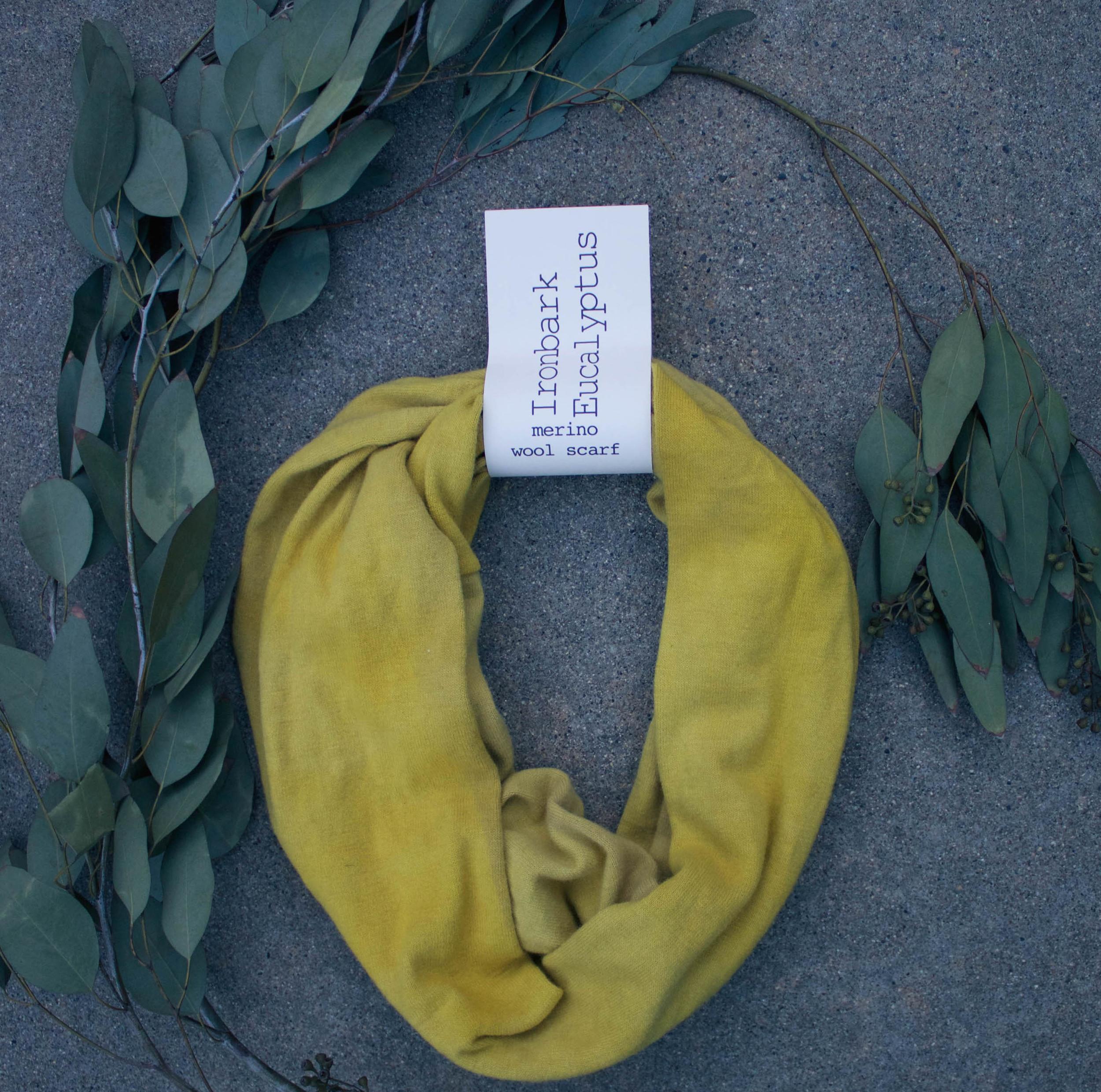 NATURALLY DYED WOOL SCARF //   Ironbark Eucalyptus   // $65