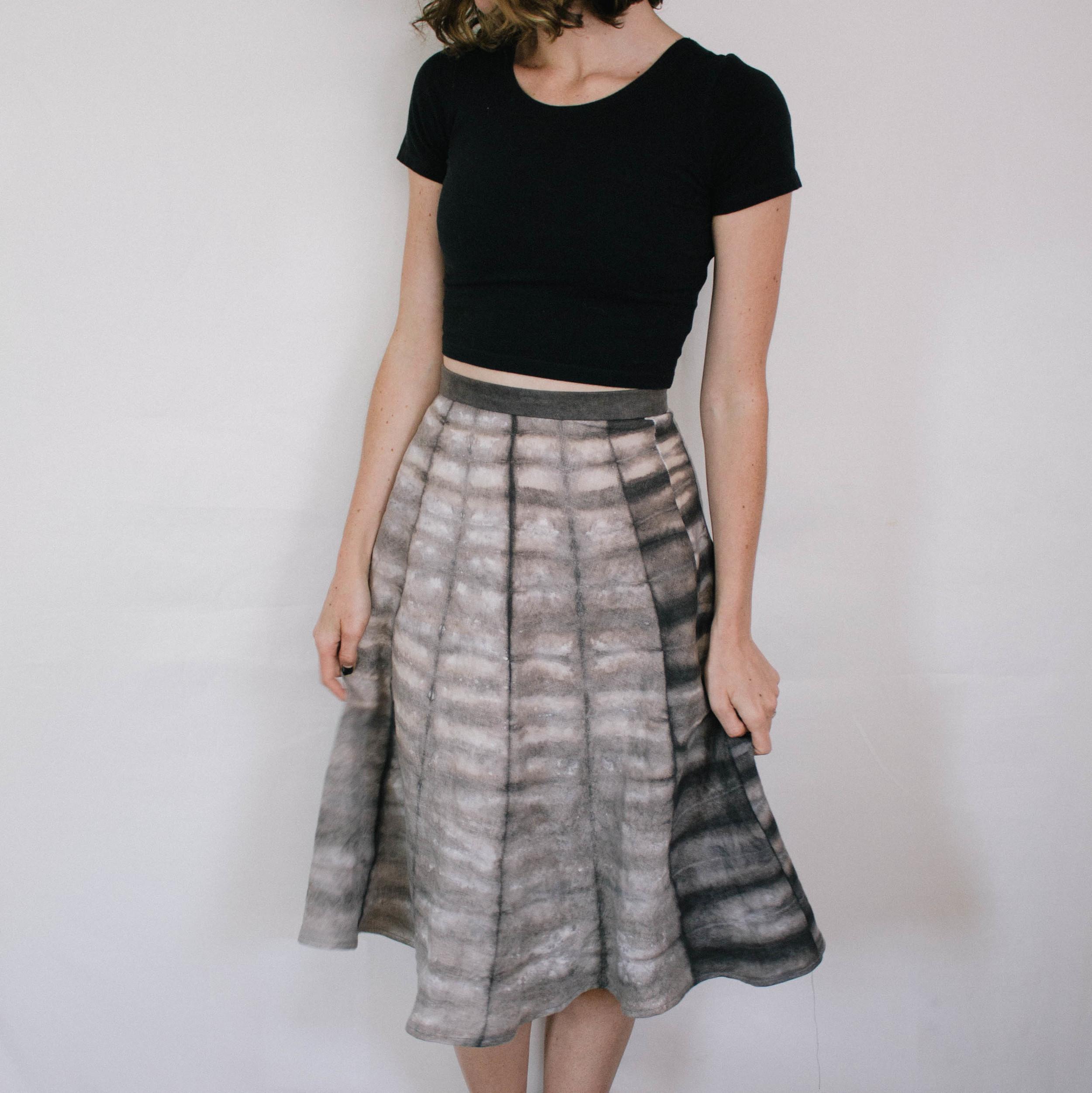Shibori Linen Skirt // Natural Acorn Dye // $75