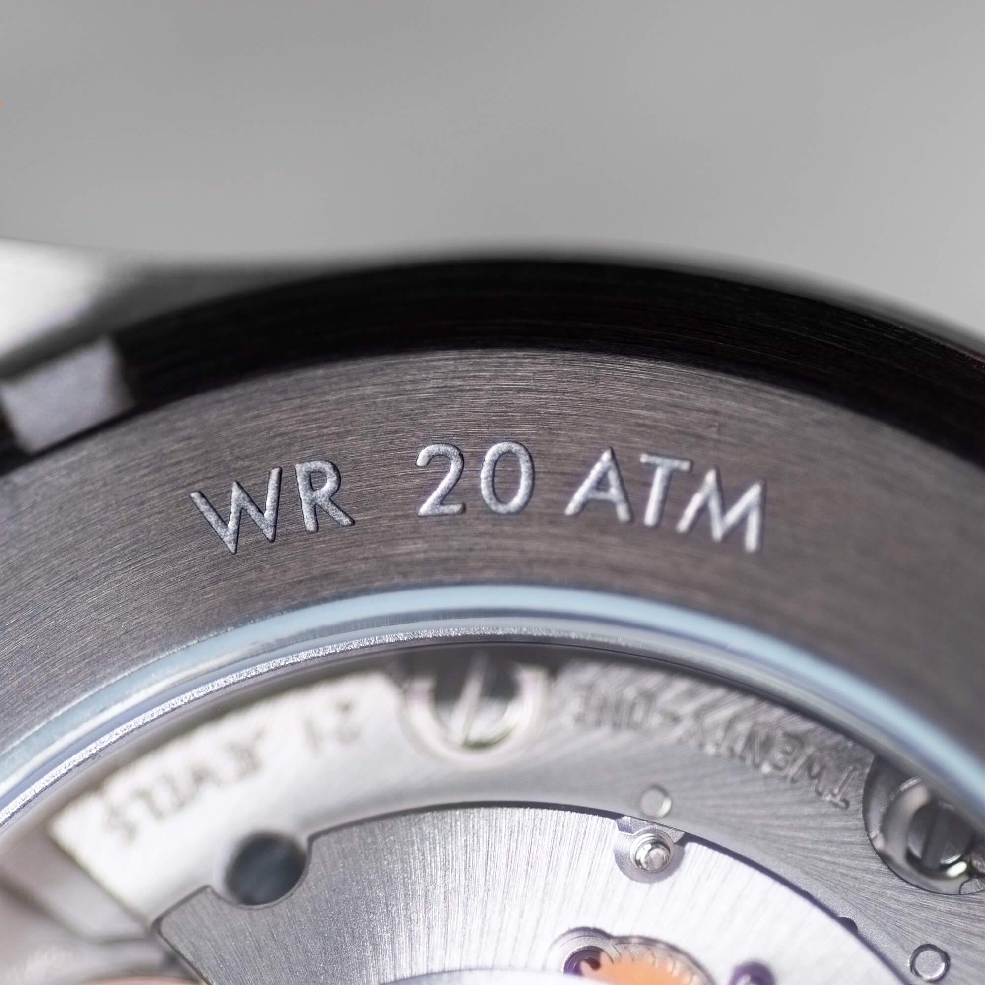 20 ATM WR - Go get wet. With 20 ATM (200 meters, 656 feet) of water resistance, screw down crown, and multiple rubber gaskets you're good to go underwater deeper than you'll ever want to go. Seriously though, did you know that 200 meters is the depth limit for underwater plants to absorb nutrients from light? Yeah, you're covered.