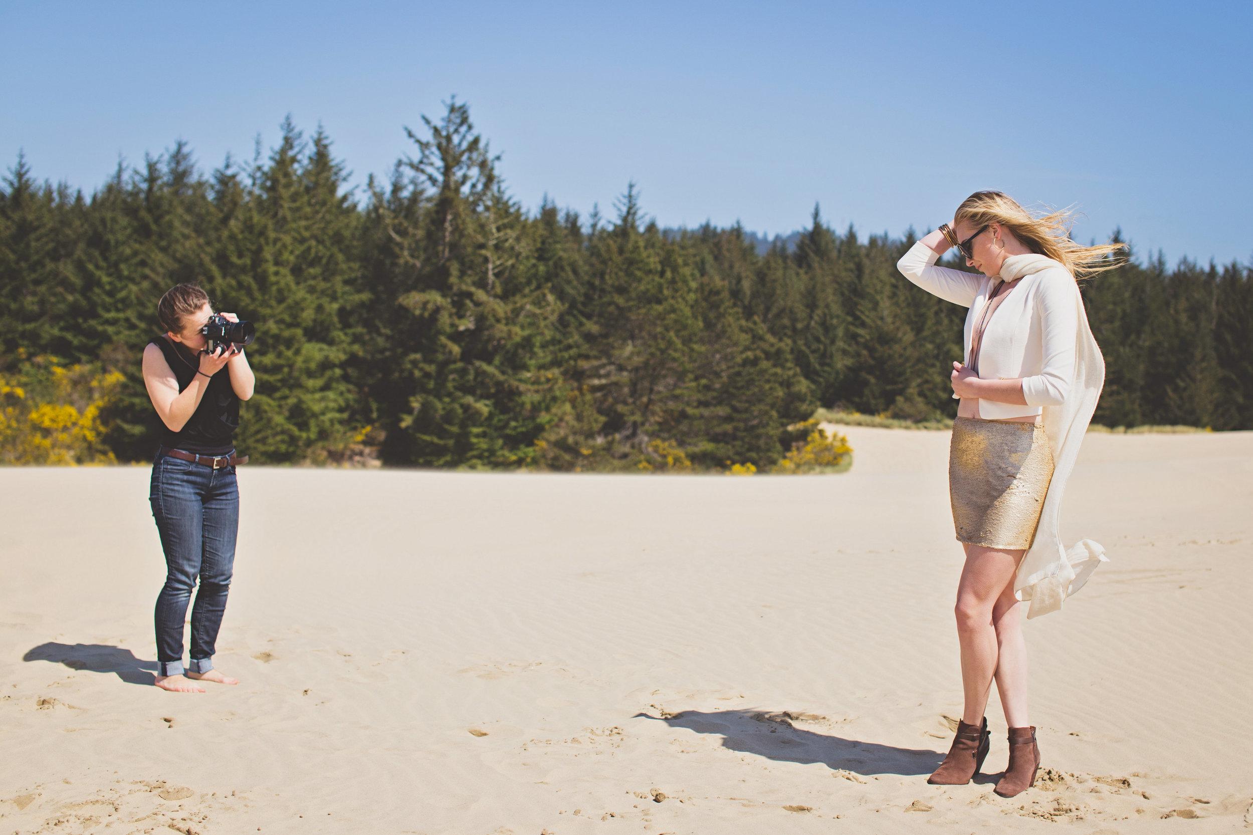 Alecia Lindsay with Nike Model Heather Dublanko at Florence Sand Dunes