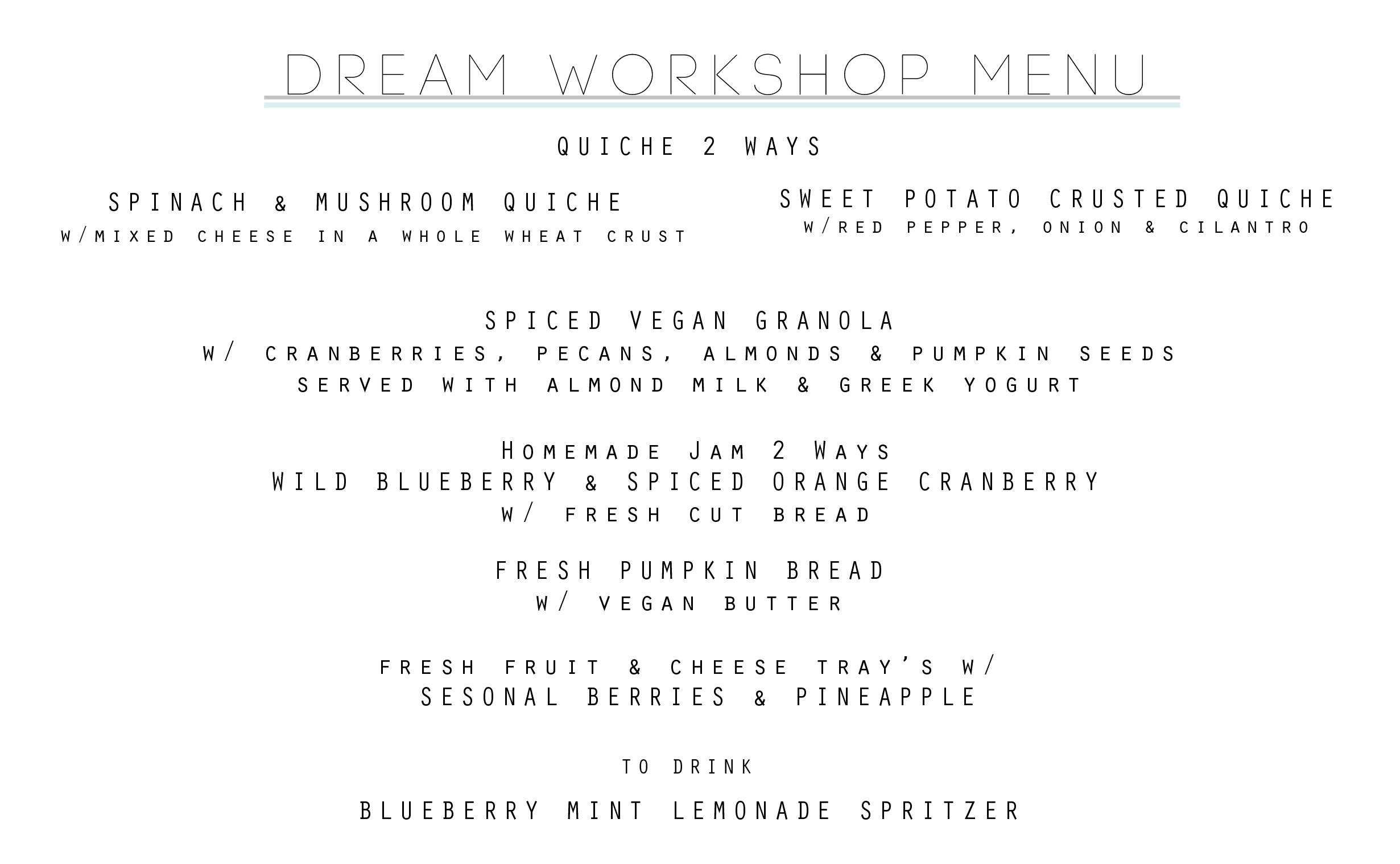 DREAM JOURNAL WORKSHOP MENU BY VALERIE NOELL