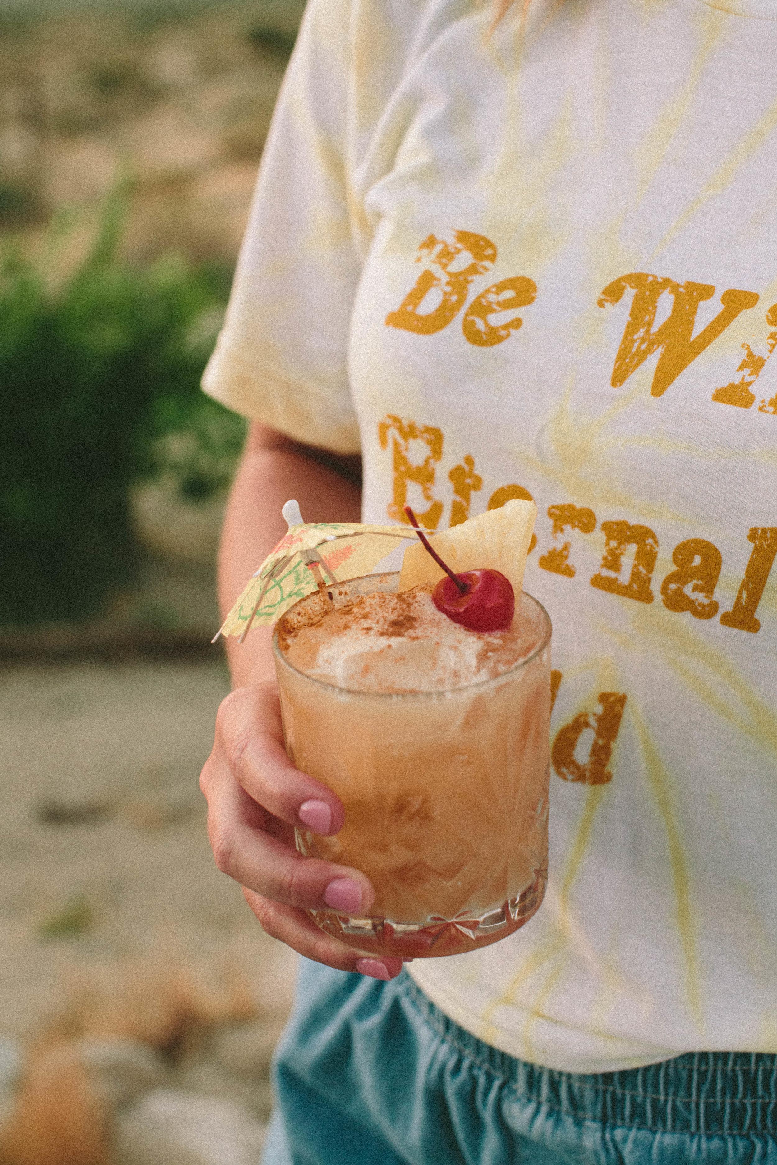 a dark rum spiced piña colada