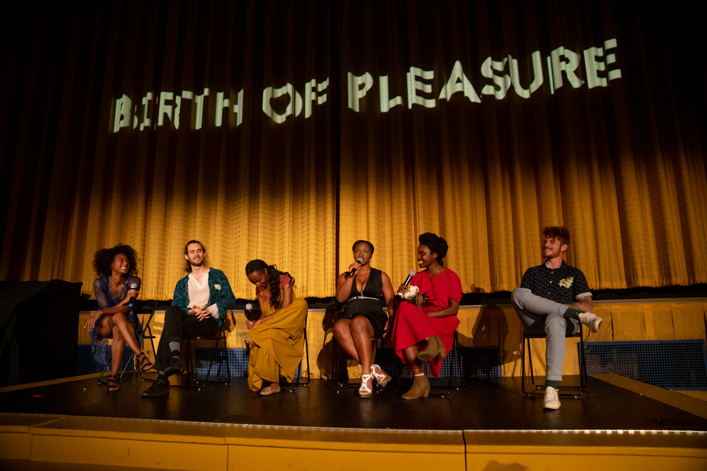 Birth of Pleasure Q&A at Plaza Theatre. May 13, 2019. Photo by Kimara Alan Dixon.  Left to Right: Naomi Mack (1st AD), Lev Omelchenko (Director), Amber L N Bournett (DoP), Sharon Carelock (Venus), Anicka Ausitn (Co-Director, Choreographer), Chris Gravely (Composer)