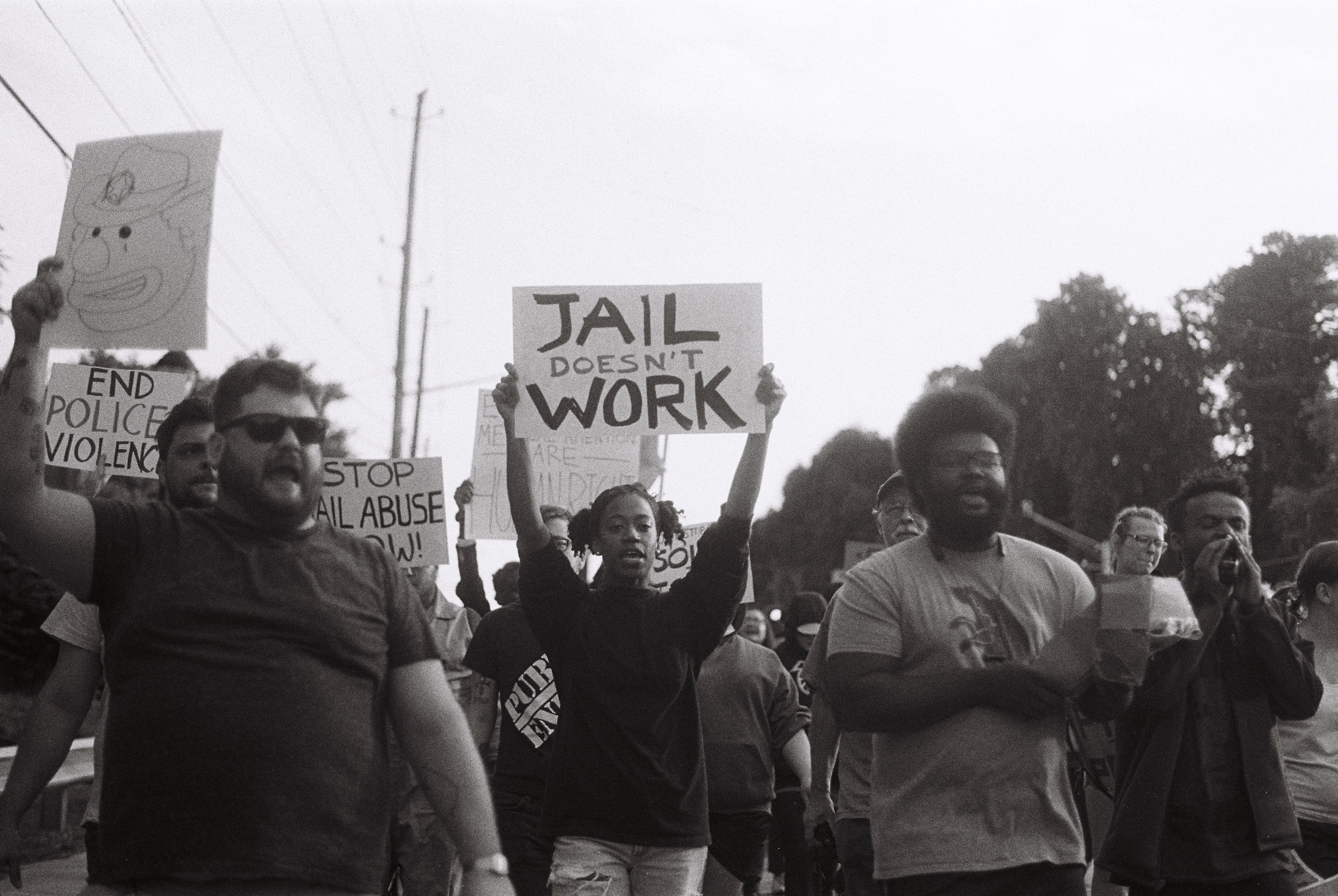 Dekalb Jail Protest. May 15, 2019. Shot on TriX BW film with an Olympus OM-1.