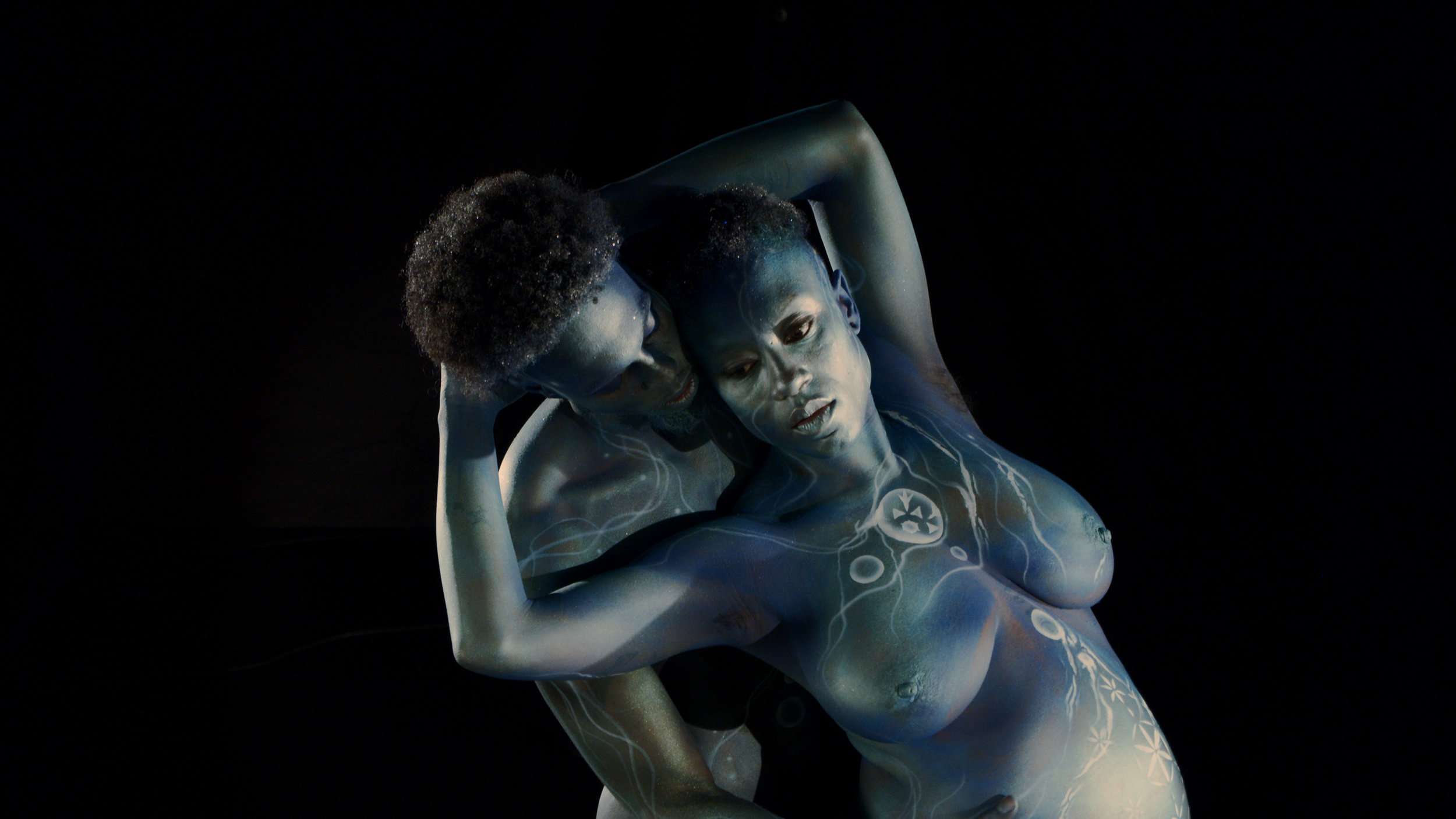 "Working still from ""Echo"" documentary, starring PhaeMonae. Bodypaint by Magdalana O'Connor."