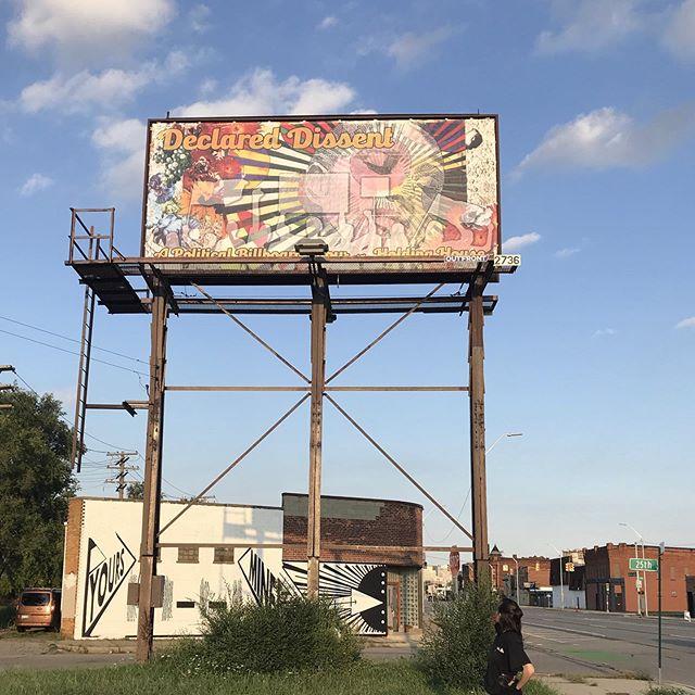 Nicole and billboard for her show, Declared Dissent, this Saturday! September 7th! 6-9pm! #billboardart #nicolemacdonald #declareddissent