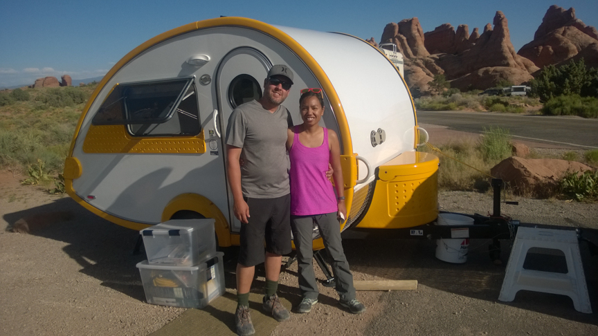At the end of our day at Arches, we met this guy from WA and he let us into his teardrop trailer and told us all about it. Pretty cool, I think I want one.