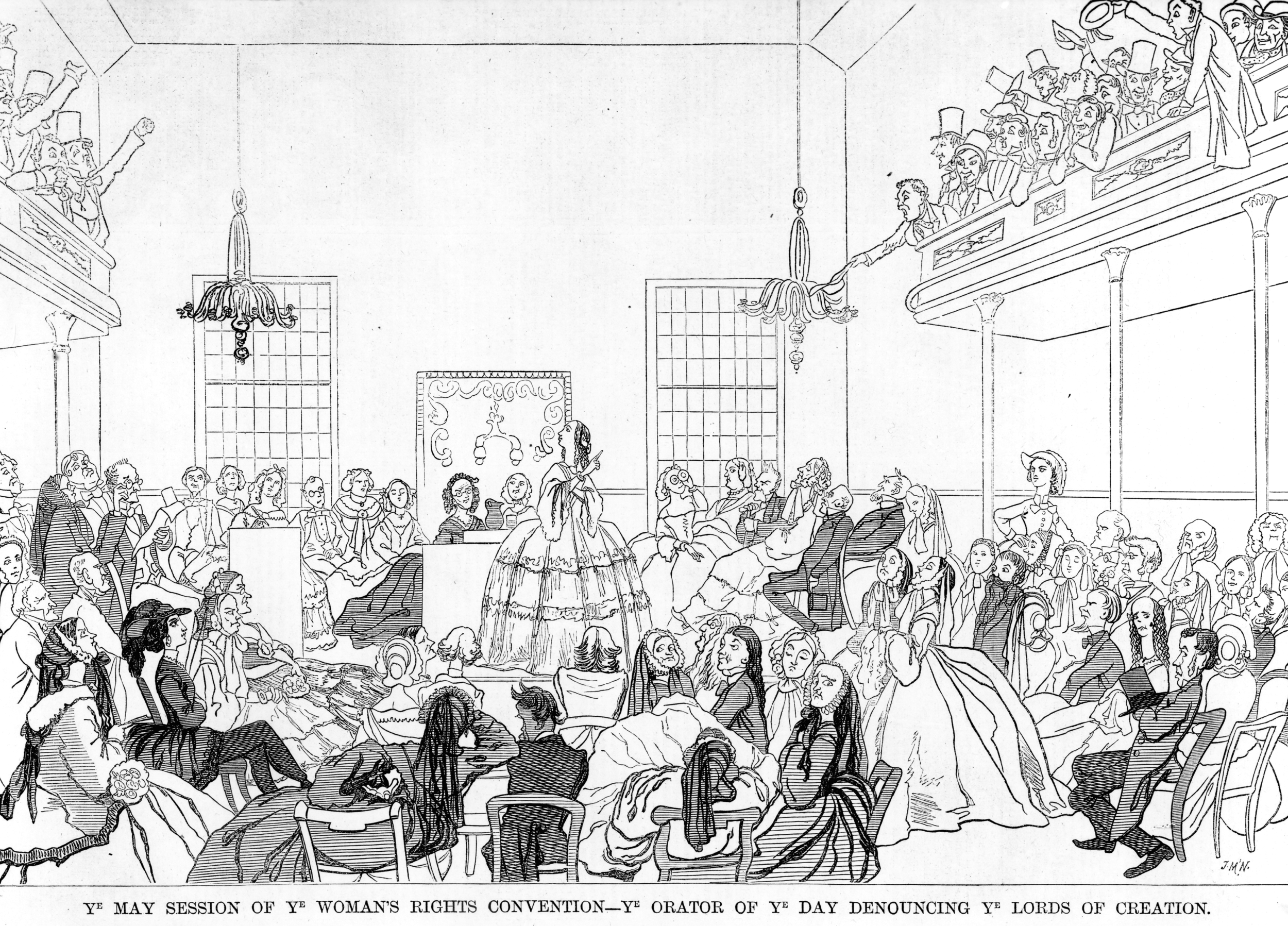 A political cartoon, published in 1859 mocking the Women's Rights Conventions. It was this kind of stigma that Suffragettes rallied against.