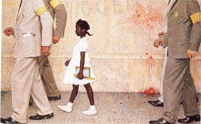Ruby's walk to school, as depicted by the beloved American artist, Norman Rockwell, would make her an icon of the movement to end racial segregation in the United States.