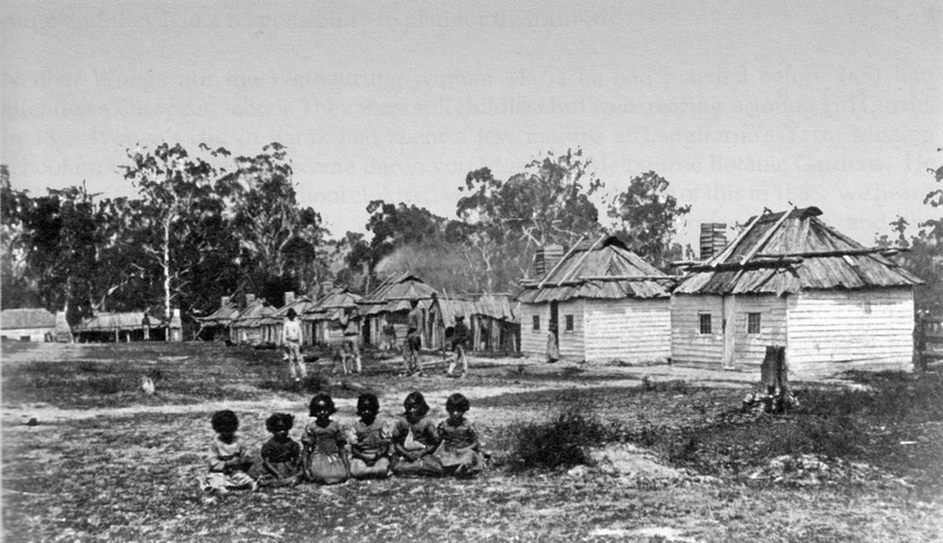 Coranderrk in the early days (c. 1867). Photo: Museum Victoria XP1922.