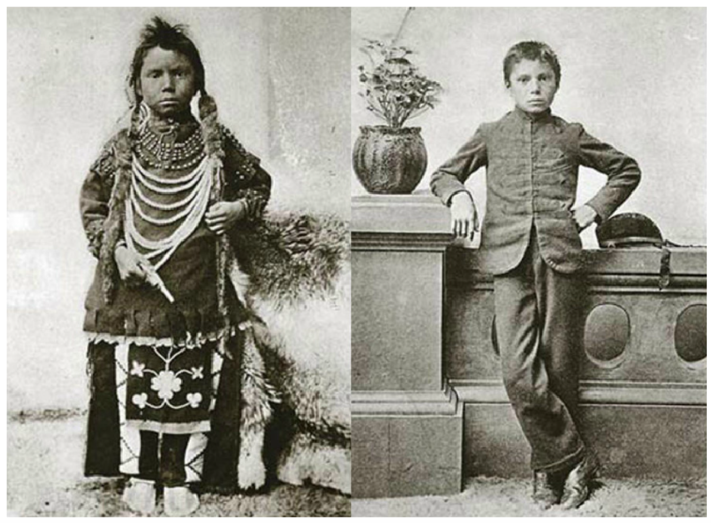 Thomas Moore before and after admission to Regina Indian Industrial School, ca. 1897. Saskatchewan Archives Board (R-A82223 1-2).