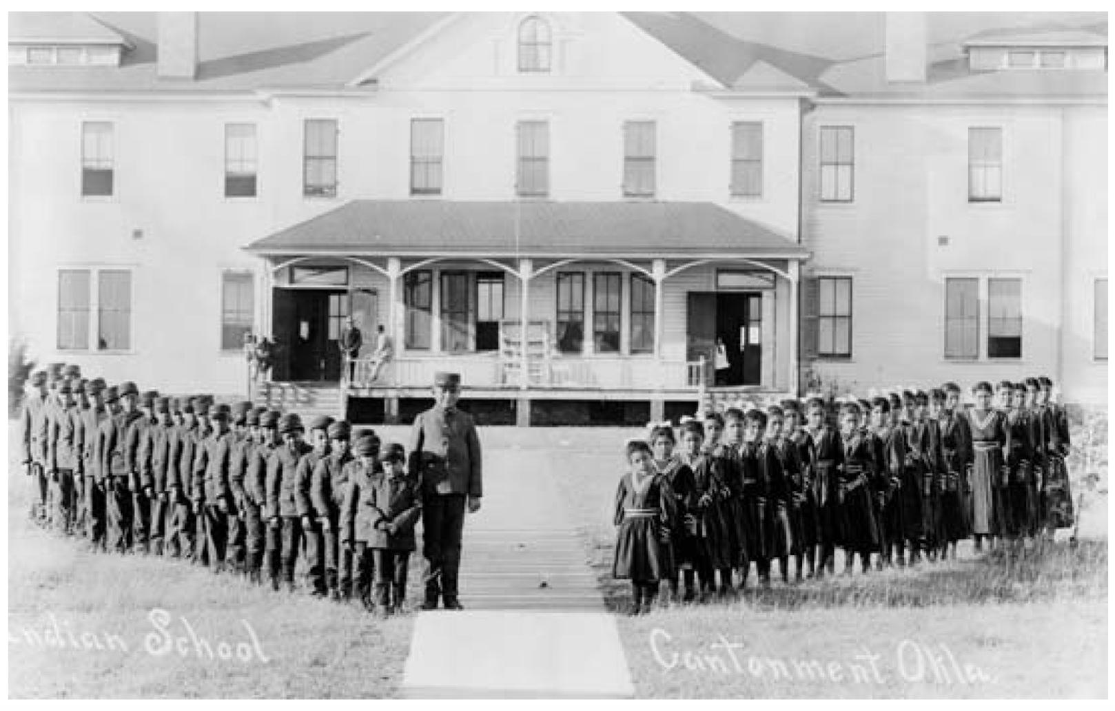 Indian boarding school at Cantonment, Oklahoma, ca. 1909. Library of Congress, Washington, D.C. (Neg. no. LC-USZ62-126134).