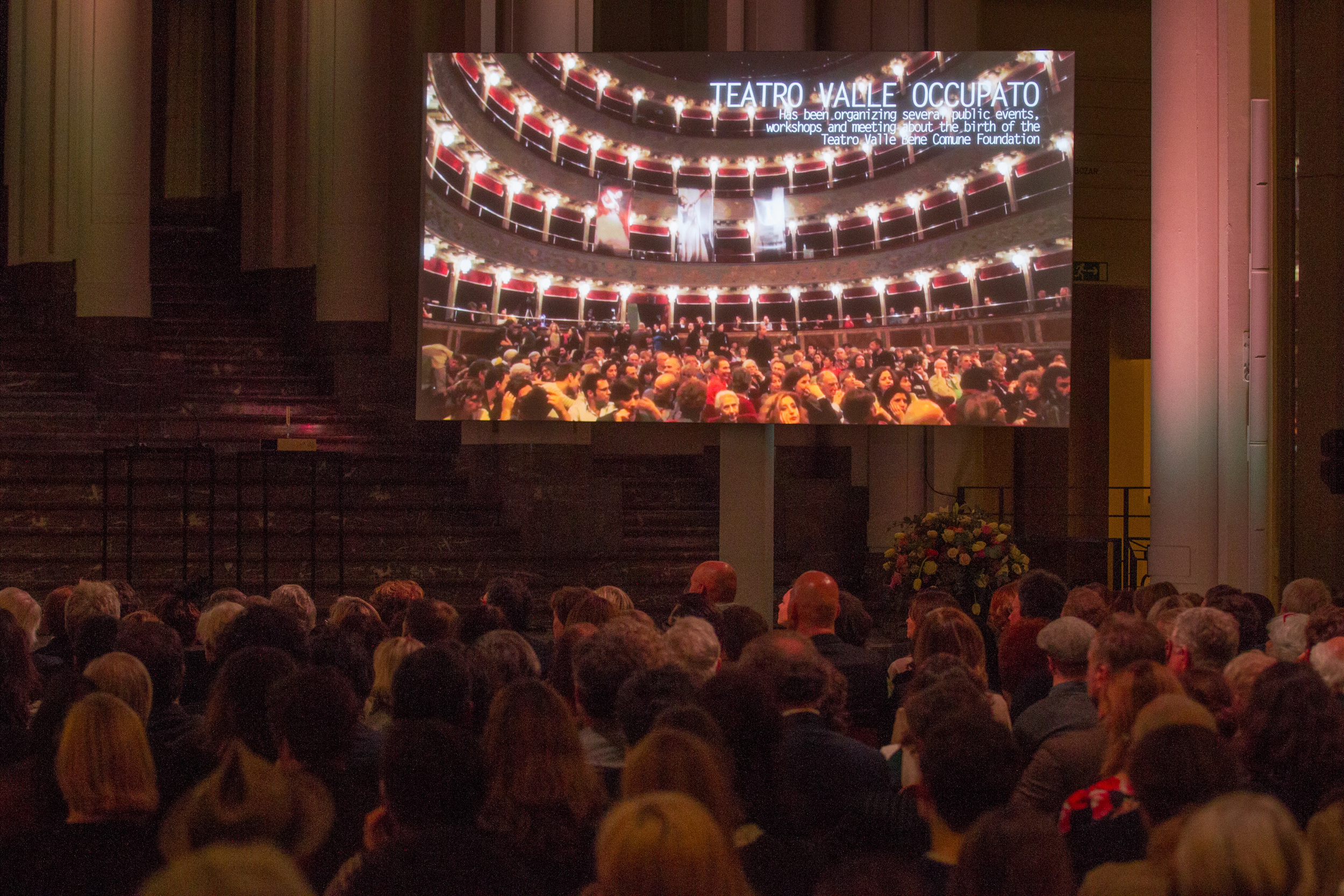 Members from Teatro Valle Occupato join on Skype. Photo ©Xander Remkes.