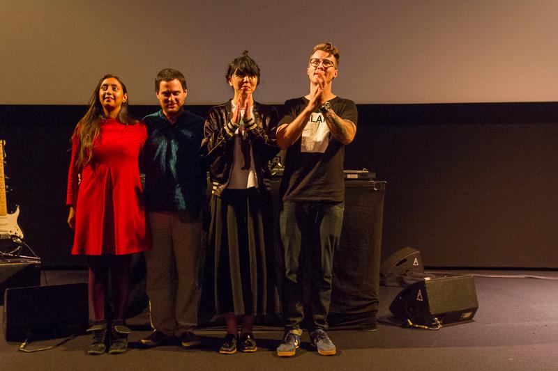 Artists Farah Rahman (the Netherlands), Karol Rakowski (Poland), Noriko Okaku (UK) and Malaventura (Spain) at the end of €urovisions live performance. Photo ©Xander Remkes