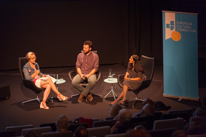 Book presentation with Katherine Watson, Naema Tahir and Juan Luis Sánchez, beforethe €urovisions live cinema performance. Photo ©Xander Remkes