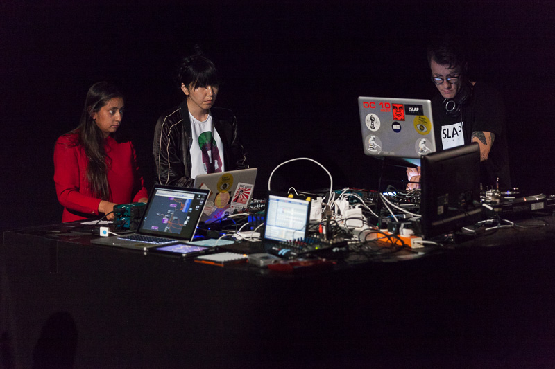 Artists Farah Rahman (the Netherlands), Karol Rakowski (Poland), Noriko Okaku (UK) and Malaventura (Spain) performing  €urovisions live. Photo ©Xander Remkes