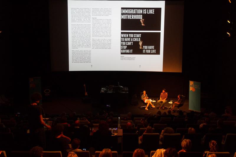 Book presentation with Katherine Watson, Naema Tahir andJuan Luis Sánchez, beforethe €urovisions live cinema performance. Photo ©Xander Remkes