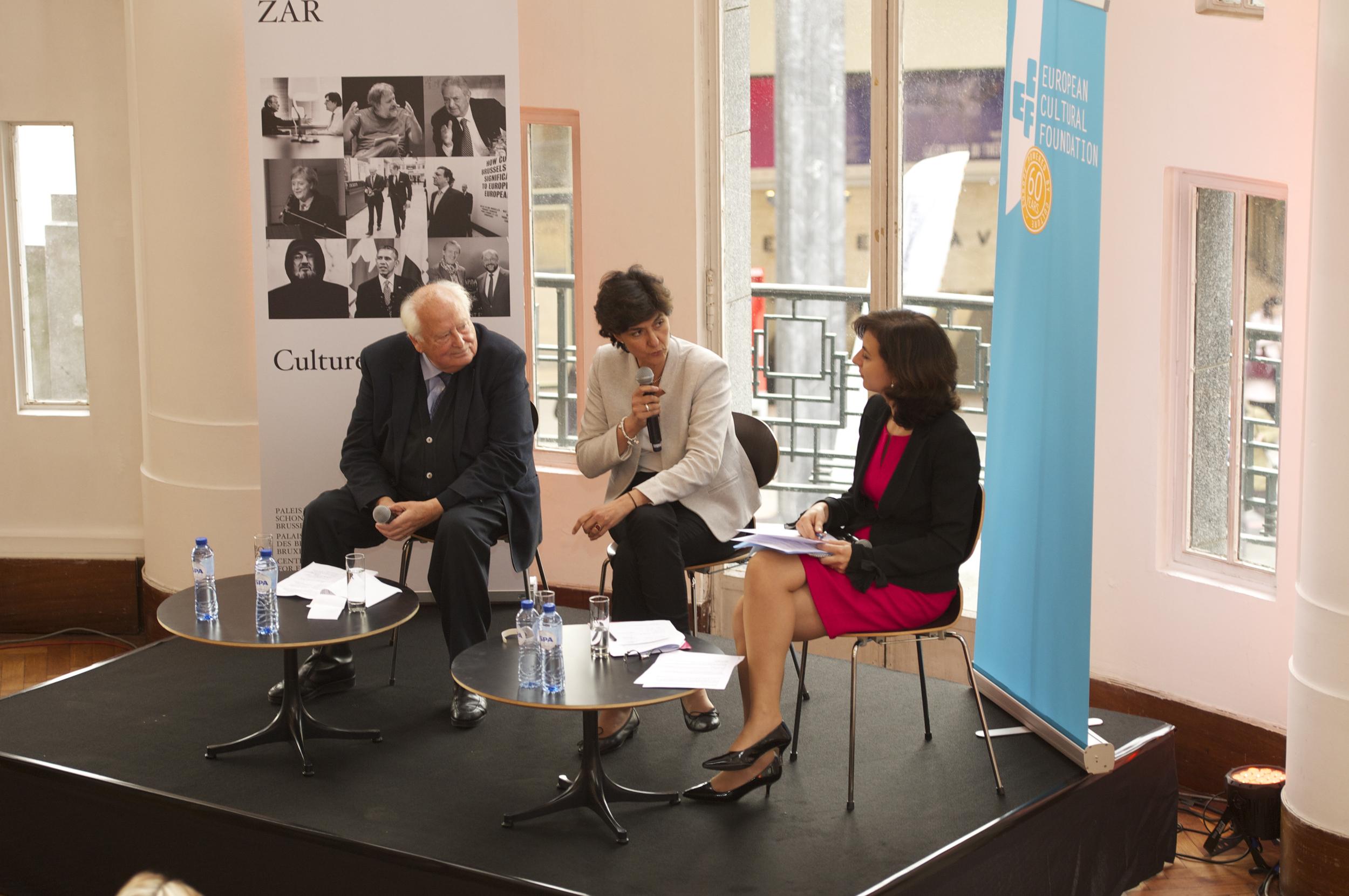 Raymond Georis, Sylvie Goulard and Vanessa Mock at the Historic Speech debate at BOZAR.Photo ©Yves Gervais