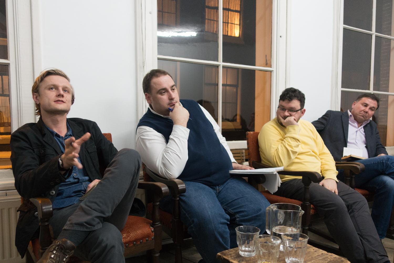 Vasyl Cherepanyn, Yevhen Hlibovitsky, Mykhailo Glubokyi and Ivan Krastev.  Photo by Canan Marasligil.