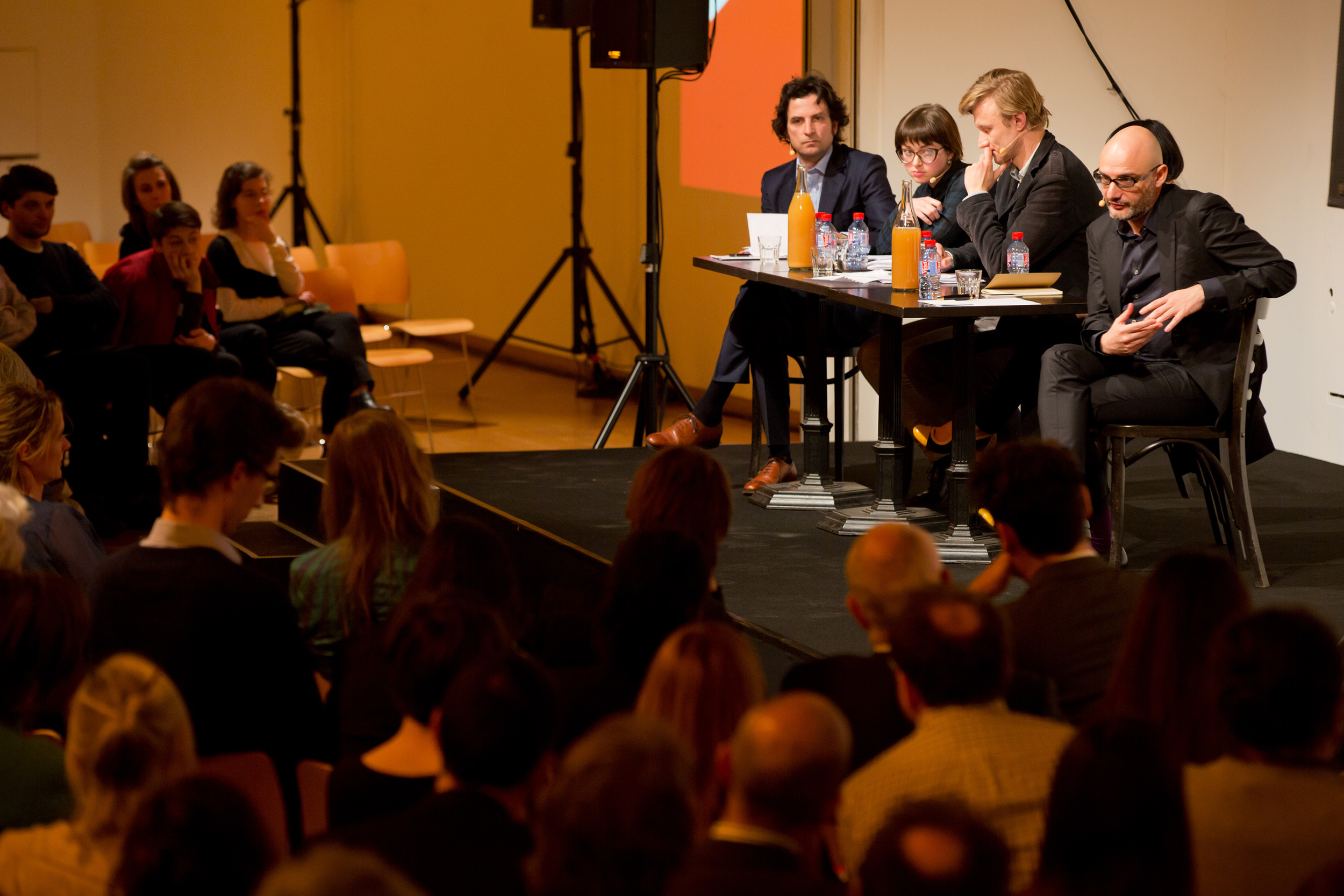 Conversation with the laureates, moderated by Massimiliano Mollona.Photo byMaarten van Haaff