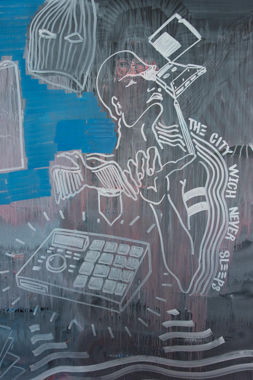 Detail from Anan Striker's Urbo Kune drawing  at  the Muziekgebouw aan 't IJ.Photo by Canan Marasligil