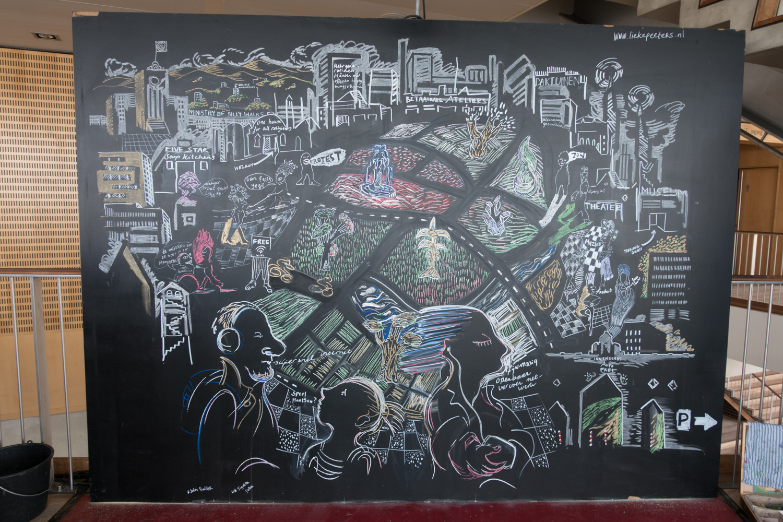Artist Lieke Peeter's drawing for Urbo Kune     atthe Muziekgebouw aan 't IJ.Photo by Canan Marasligil