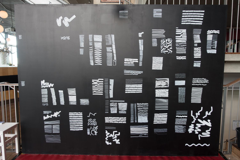 Artist Bert Scholten's drawing for Urbo Kune     atthe Muziekgebouw aan 't IJ.Photo by Canan Marasligil