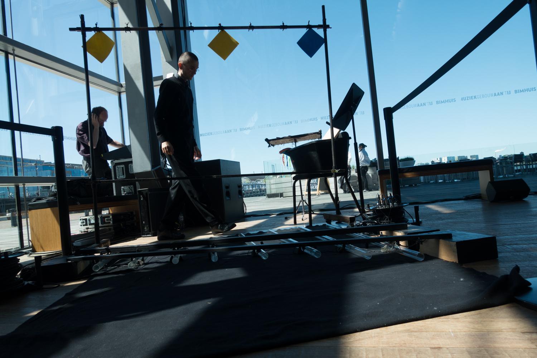 One of the many musical happening by Klangforum Wienduring Urbo Kune. This piece ismembrane regen für 8 glaszylinder, wasser und verstärker  .Photo by Canan Marasligil