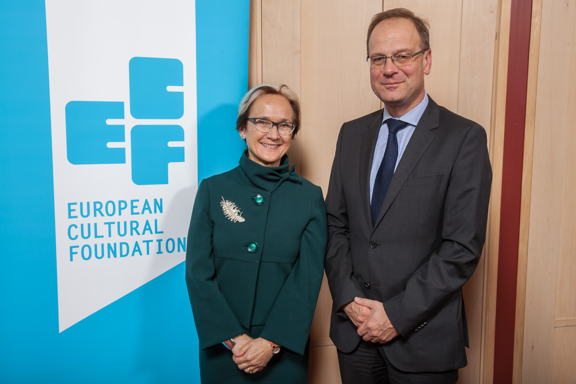 ECF Director Katherine Watson and Tibor Navracsics,EU commissioner for Education, Culture, Youth and Sport . Photo by Xander Remkes.