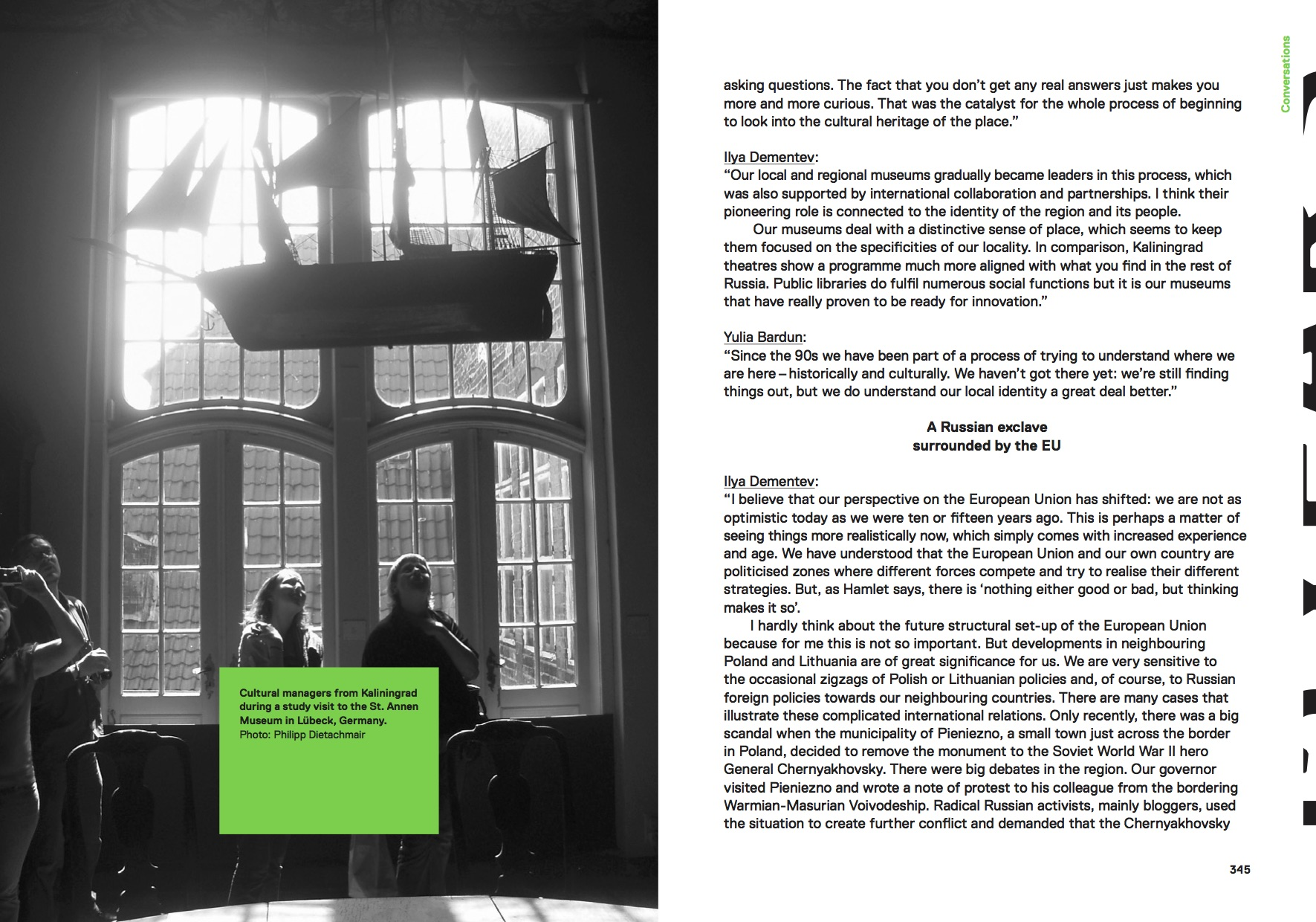 Pages from the Kaliningrad essay of the Another Europe book.Design and photo by Gerlinde Schuller (The World as Flatland)