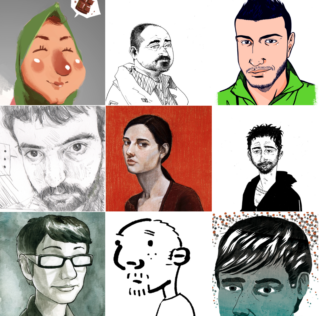 The artists of the  Reframe, Perspectives on Europe through comics from Algeria, Turkey and the UK , 2013-14.
