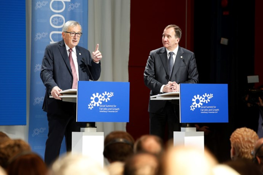 Sweden's Prime Minister Stefan Löfven and Jean-Claude Juncker, President of the European Commission, at the EU Social Summit. Photo: Ninni Andersson/The Government Offices