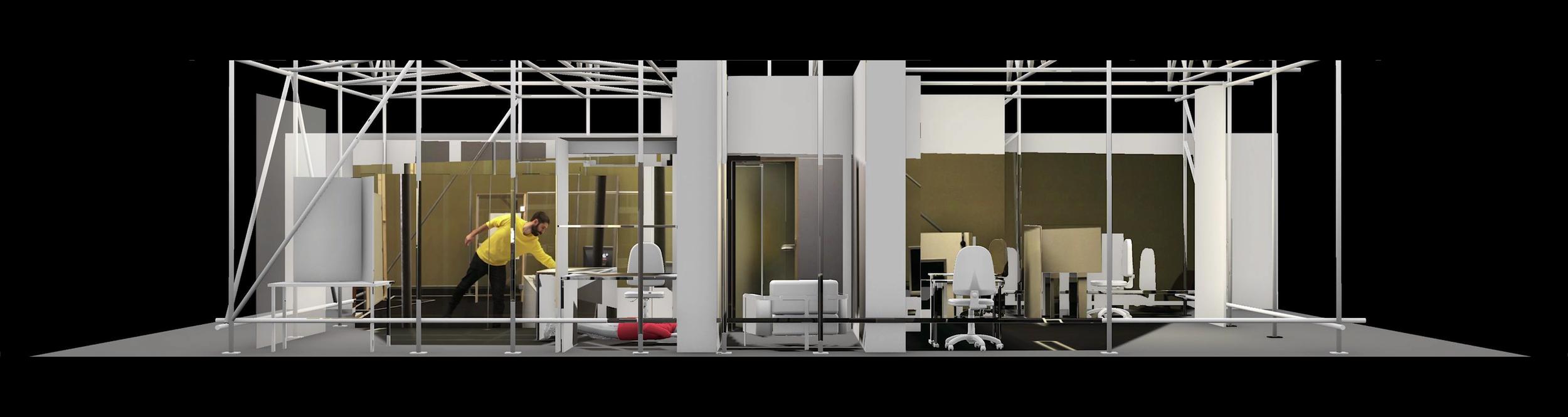 Samengesteld beeld van de fysieke en virtuele reconstructie van 77sqm_926min. Forensic Architecture, 2017. (Volledige Engelse omschrijving: zie noot voor de redactie)