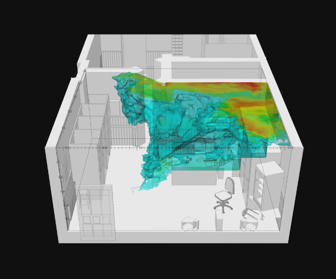 Project  77sqm_926min : Simulation of the fluid dynamics of smell particles (ammonia) within the front room of the internet cafe. Image: Dr. Salvador Navarro-Martinez and Forensic Architecture, 2017