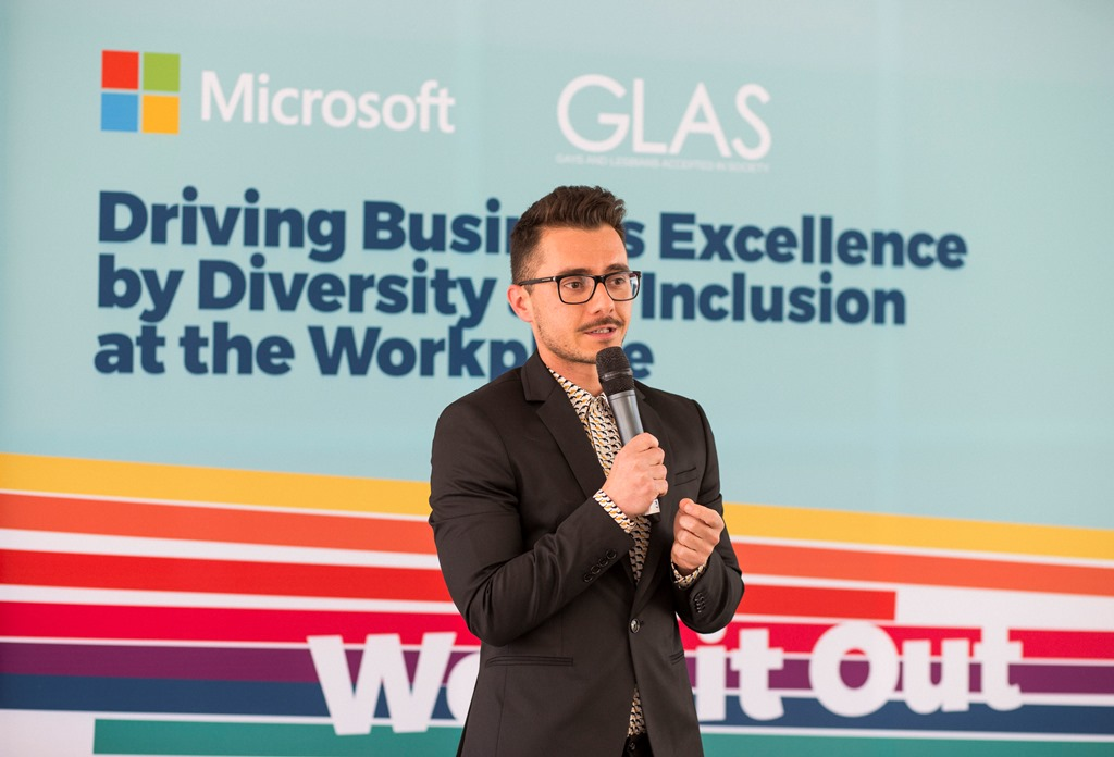 Simeon Vasilev, GLAS Foundation Bulgaria, at the launch of the business platform for diversity and equality at the workplace, photo by Radina Gancheva