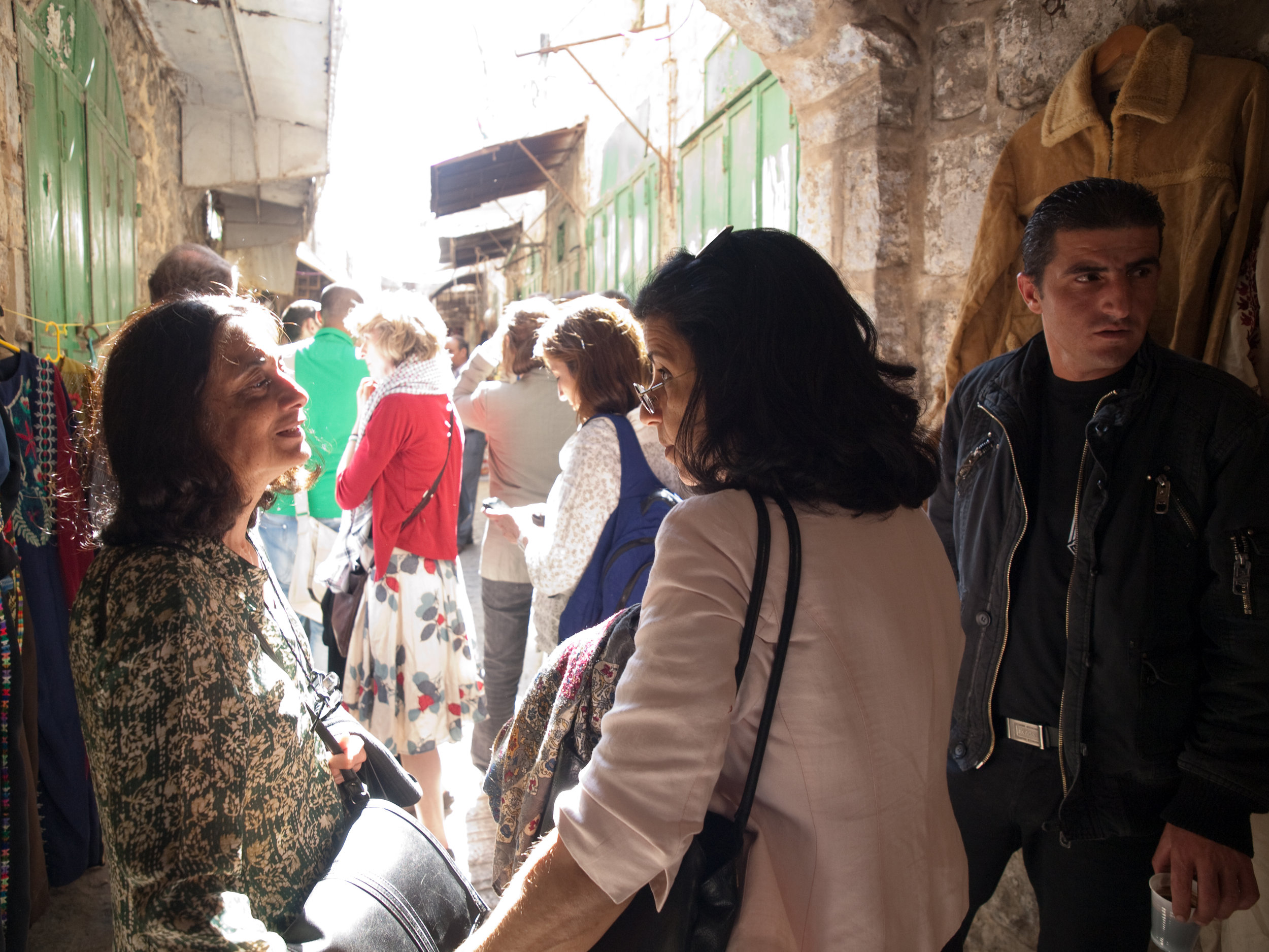 Ritu Menon and Ahdaf Soueif in Hebron during PalFest 2010, photo by Raouf Hajj Yehia