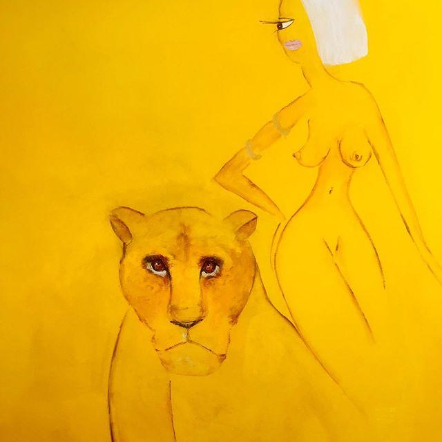 Part of a new pic. #jeanniebolund #bolund #kunstnerjeanniebolund #kunstiaarhus #kunstirisskov #lions #løvinder #løver #gult