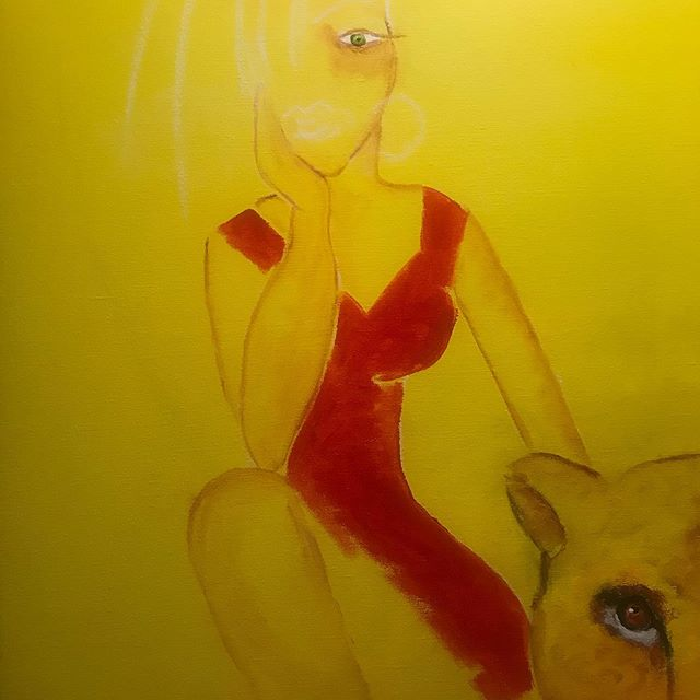 Still working on the yellow painting #jeanniebolund #kunstnerjeanniebolund #bolund #danishartist #kunstiaarhus #kunstirisskov #reddress #womaninred #❤️