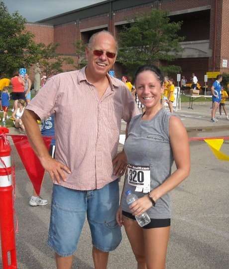 """""""Yes at one point I had black hair and tanned! My personal journey has led me to love my naturally blond hair and light pale skin which I love and wear proudly."""" ~ Jackie. This photo is from the Sweet Corn Festival 5k in 2011, that's my amazing dad, Gordon, by my side to watch me run."""