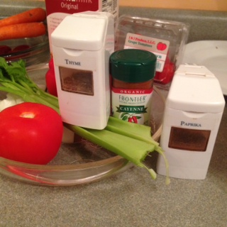In this recipe I selected celery, onion, red bell pepper with thyme, paprika and cayenne pepper.