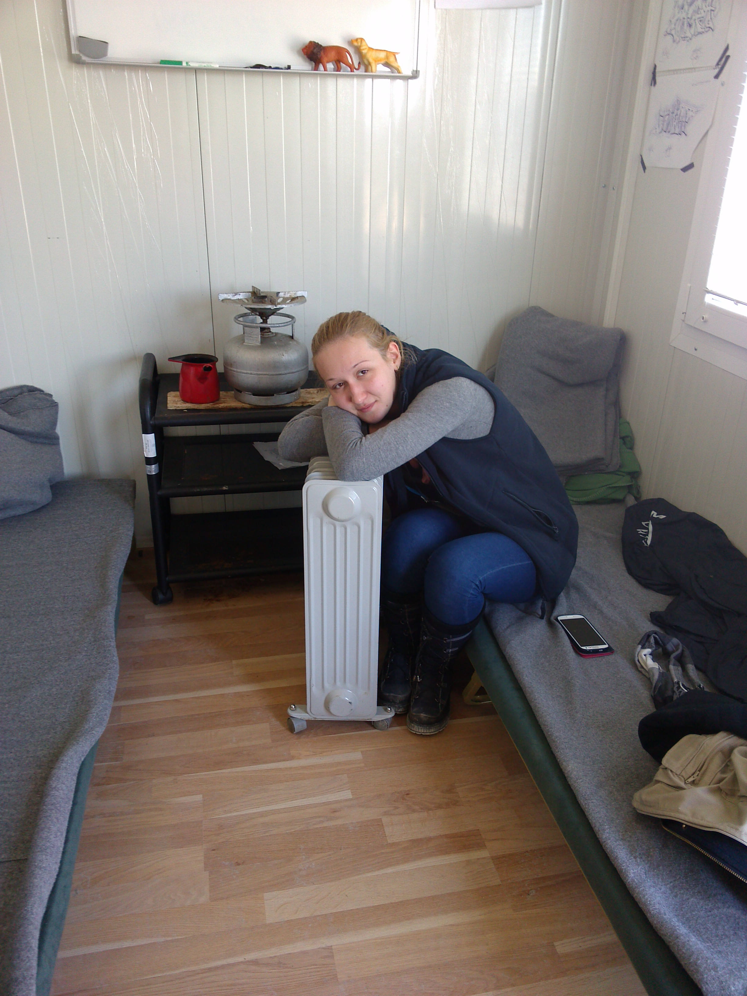 A colleague getting warm in our non-smoking cabin the previous day.
