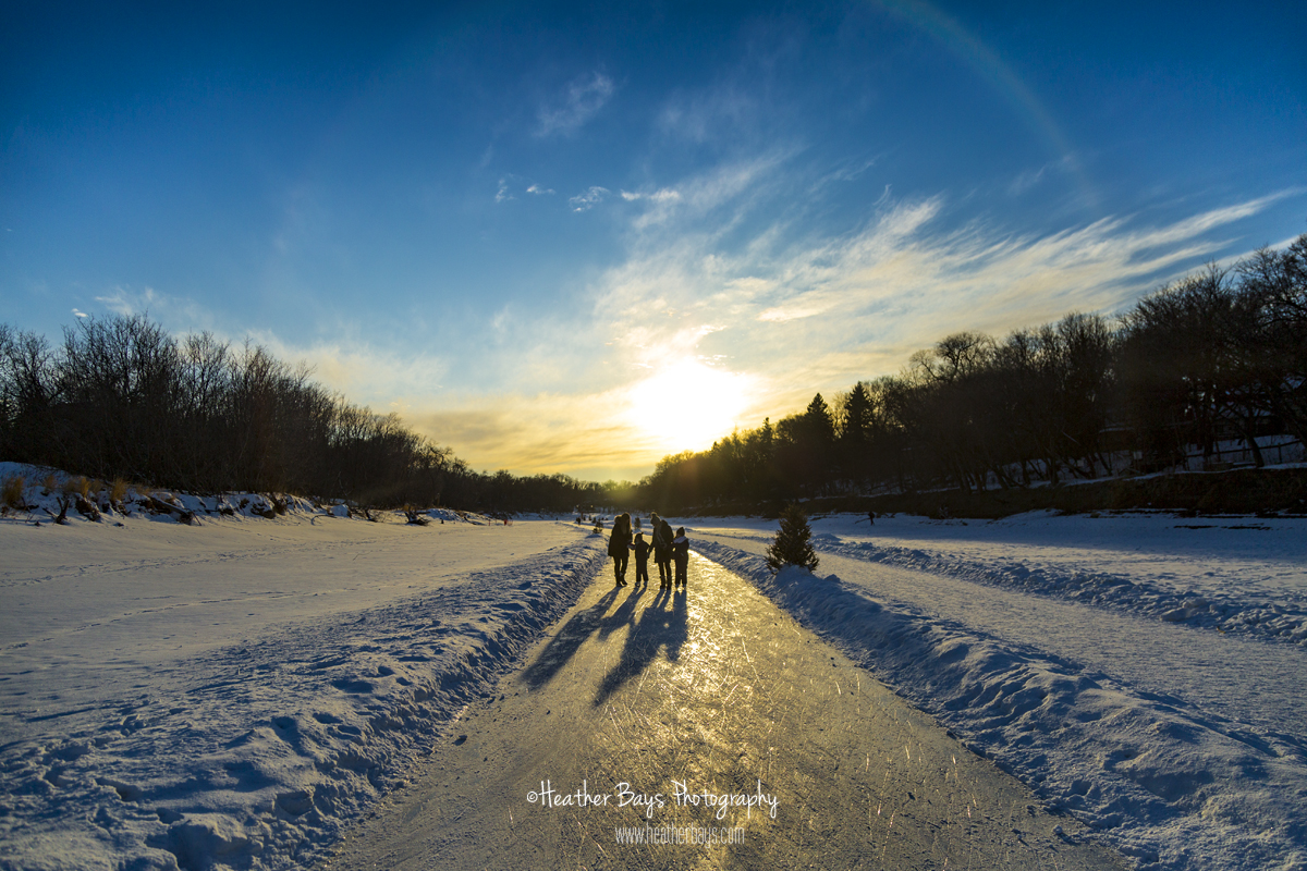 sunset Winnipeg river skate path