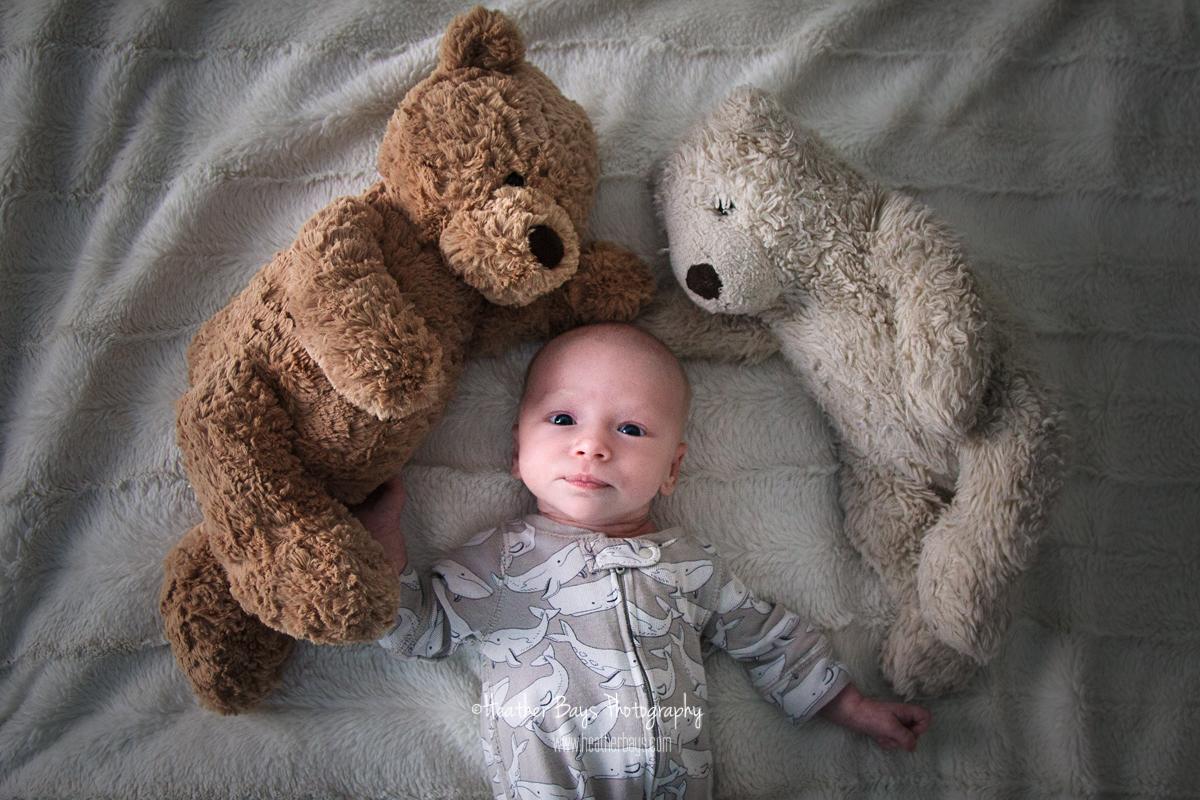 nostalgic newborn with bears