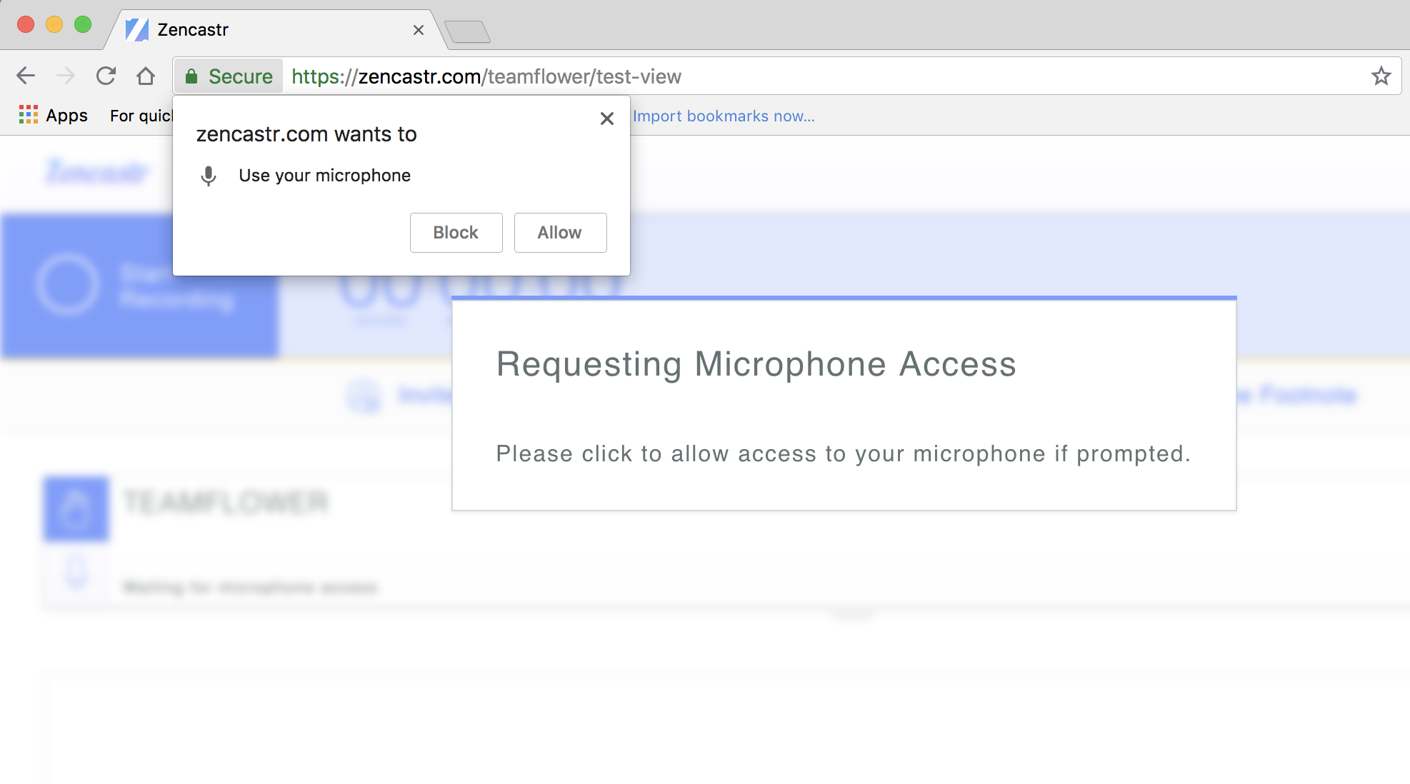 Step 1 - Allow microphone access when you first open the page using Chrome