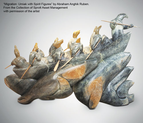 """He was moved by Abraham Anghik Ruben's sculpture """"Migration: Umiak with Spirit Figures"""" at the Museum of the Native American on his first trip to Bethesda for chemotherapy."""