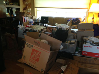 Living Room -- Basement Staging Area